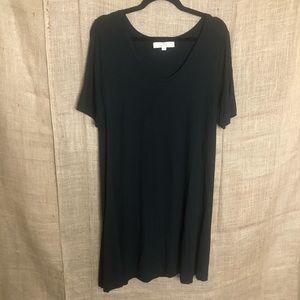 Loft M Black T-shirt Dress Solid Casual Stretchy